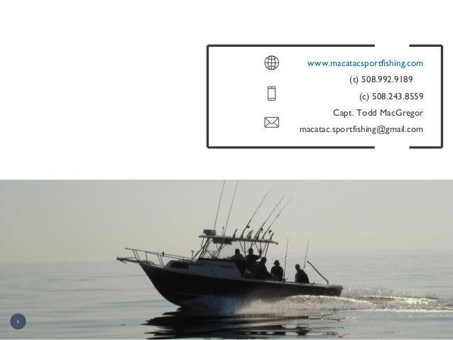 2 www.macatacsportfishing.com (t) 508.992.9189 (c) 508.243.8559 Capt. Todd MacGregor macatac.sportfishing@gmail.com