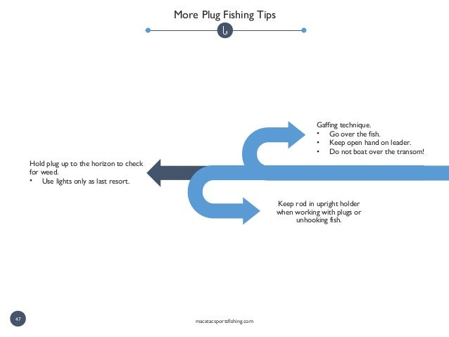 Gaffing technique. • Go over the fish. • Keep open hand on leader. • Do not boat over the transom! Keep rod in upright hol...