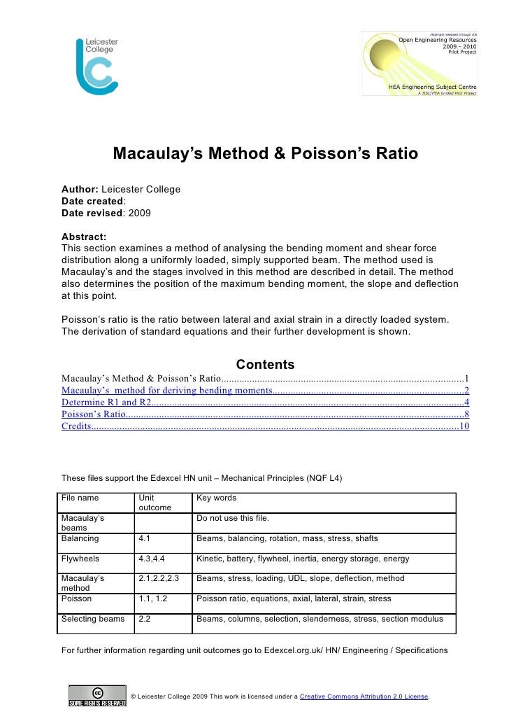 Macaulay's Method & Poisson's Ratio Author: Leicester College Date created: Date revised: 2009  Abstract: This section exa...