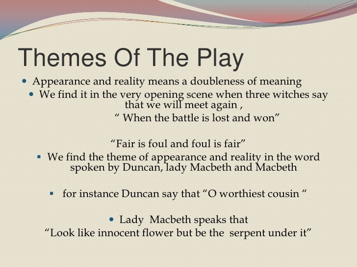 the theme of macbeth The supernatural elements in macbeth do more than contribute to a spooky mood  they externalize macbeth's moral slide towards evil without the witches, we.