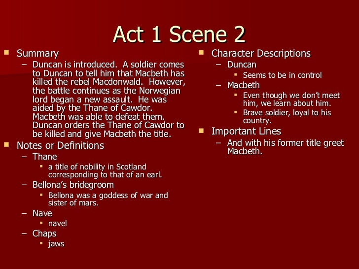 macbeth importance of act 1 scene 1 Detailed summary of act 1 scene 1 of macbeth (shakespeare) nerdstudy takes you through each and every important synopsis detail this lesson is intended for students who are aiming for that a.