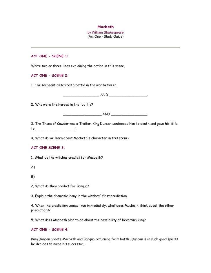 macbeth study guide rh slideshare net macbeth study guide answers act 1 macbeth study guide answers act 4 scene 1