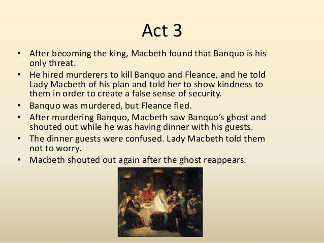 macbeth assignment Describe the how recurring ideas themes of the text support the main controlling idea describe how one of the main character's actions develop the plot.