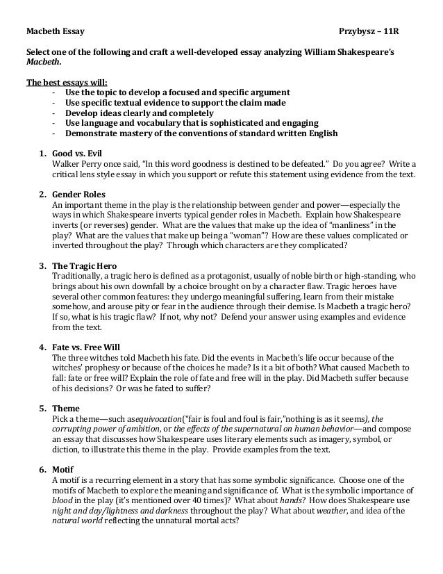 good essay questions for macbeth Macbeth study guide contains a biography of william shakespeare, literature essays, a complete e-text, quiz questions, major themes, characters, and a full summary and analysis.
