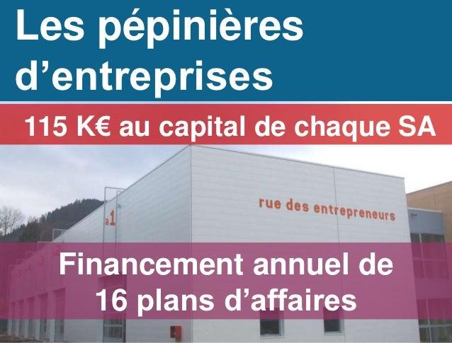 Les pépinièresd'entreprises115 K€ au capital de chaque SA  Financement annuel de     16 plans d'affaires