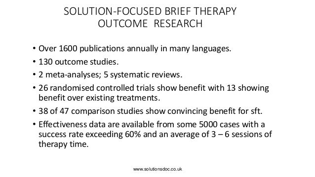 compare cbt and sfbt The solution-focused brief therapy association, a group affiliated with   therapy (cbt) and motivational interviewing in his counseling toolkit.