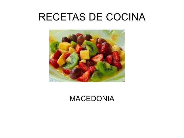 RECETAS DE COCINA    MACEDONIA
