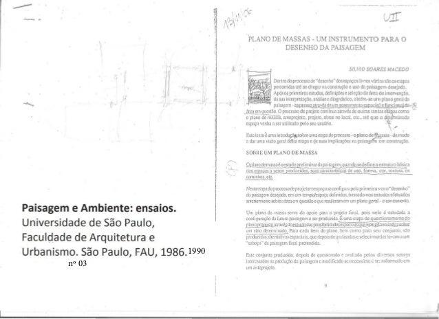 I • • , . , .~-:- - ,...  f i . U 1•, , I I I I Paisagem e Ambiente: ensaios. Universidade de Sao Paulo, Faculdade de Arqu...