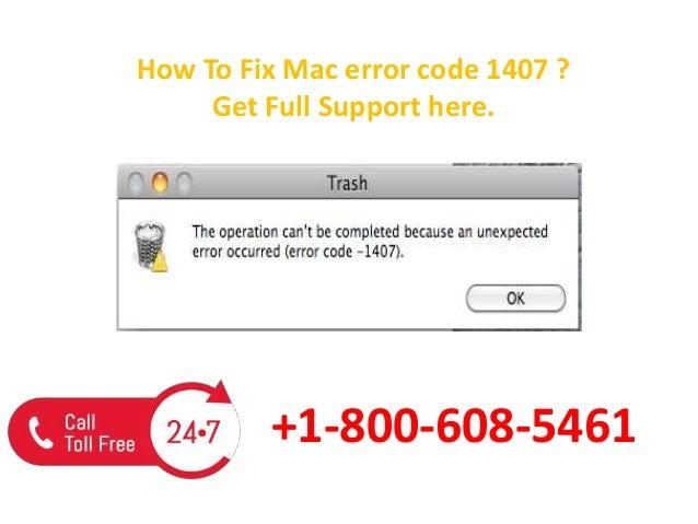 Mac error code 1407