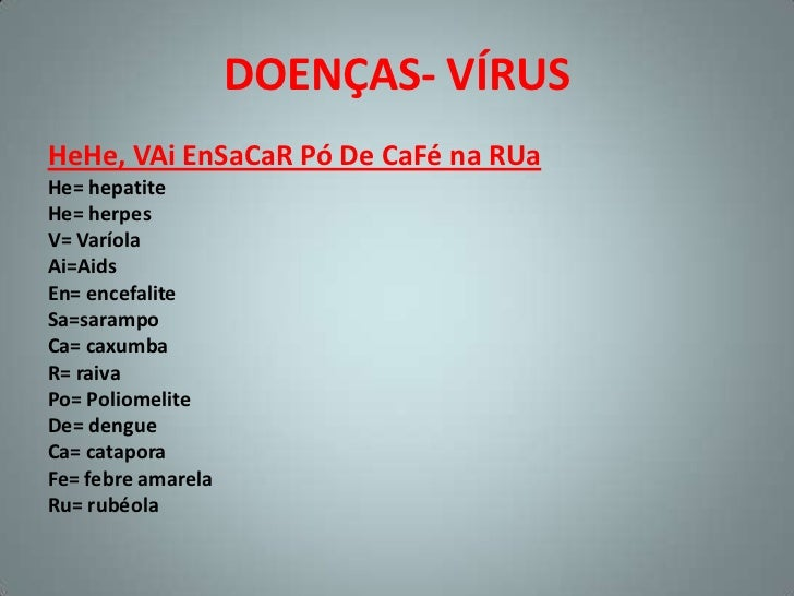 DOENÇAS- VÍRUSHeHe, VAi EnSaCaR Pó De CaFé na RUaHe= hepatiteHe= herpesV= VaríolaAi=AidsEn= encefaliteSa=sarampoCa= caxumb...