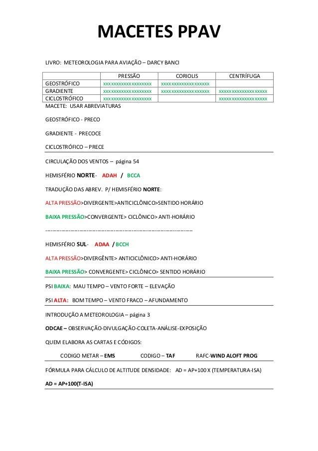 MACETES PPAV LIVRO: METEOROLOGIA PARA AVIAÇÃO – DARCY BANCI PRESSÃO CORIOLIS CENTRÍFUGA GEOSTRÓFICO xxxxxxxxxxxxxxxxxxx xx...