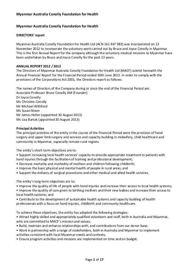 Myanmar Australia Conolly Foundation for Health Myanmar Australia Conolly Foundation for Health DIRECTORS' report Myanmar ...