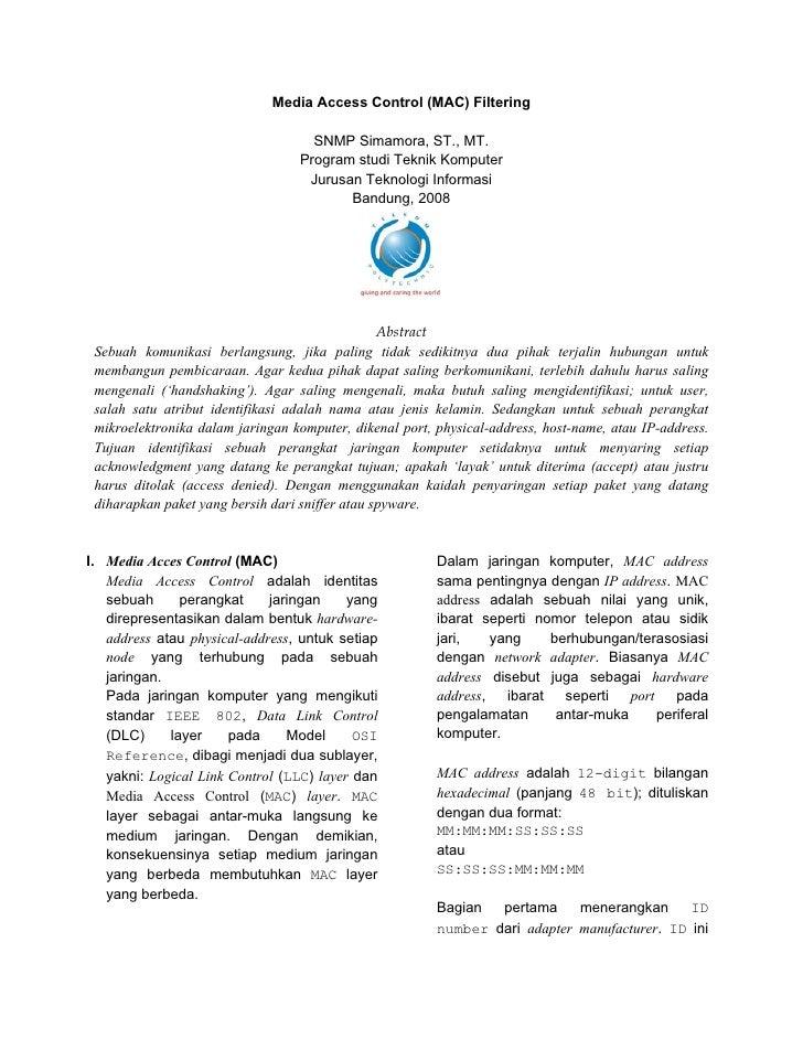 Media Access Control (MAC) Filtering                                      SNMP Simamora, ST., MT.                         ...