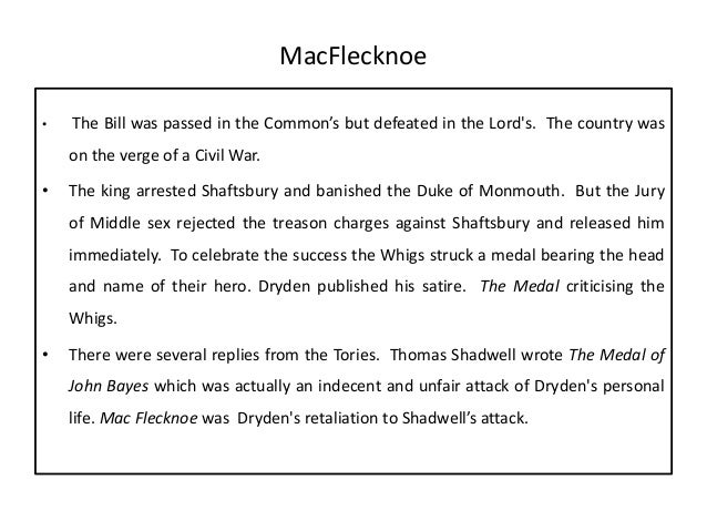 mac flecknoe summary