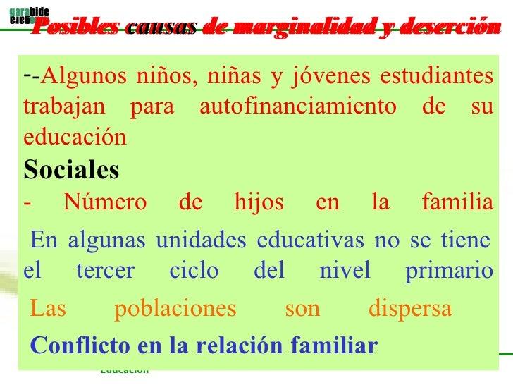 Posibles causas de marginalidad y deserción   <ul><li>- Algunos niños, niñas y jóvenes estudiantes trabajan para autofinan...