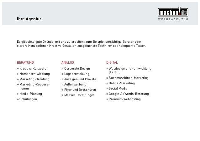 Ihre Agentur BERATUNG »» Kreative Konzepte »» Namensentwicklung »» Marketing-Beratung »» Marketing-Koopera- tionen »» Medi...