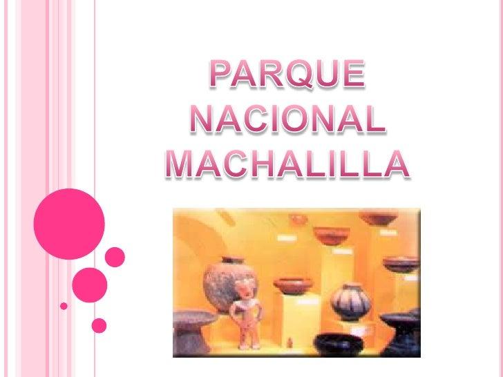 PARQUE NACIONAL <br />MACHALILLA<br />