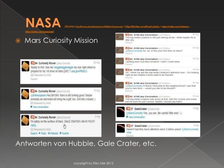    Mars Curiosity MissionAntworten von Hubble, Gale Crater, etc.                  copyright by Eiko Isler 2012