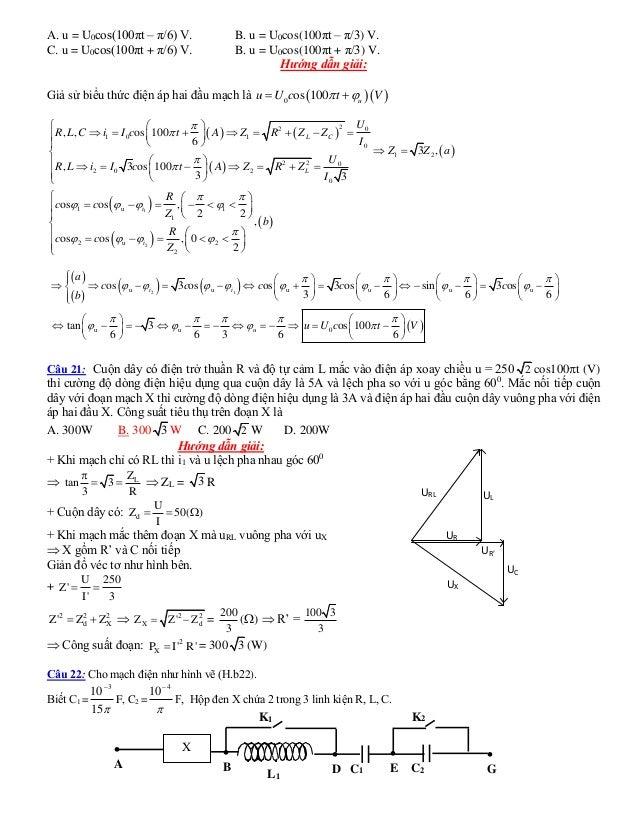 A. u = U0cos(100πt – π/6) V. B. u = U0cos(100πt – π/3) V. C. u = U0cos(100πt + π/6) V. B. u = U0cos(100πt + π/3) V. Hướng ...