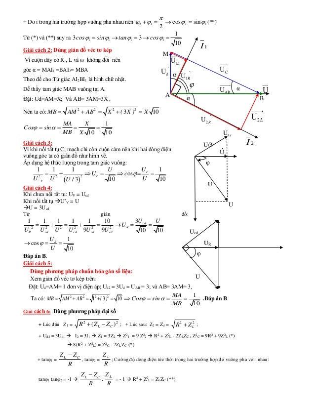 + Do i trong hai trường hợp vuông pha nhau nên 1212 sincos 2     (**) Từ (*) và (**) suy ra 1 1 1 1 1 3 3 10 cos ...