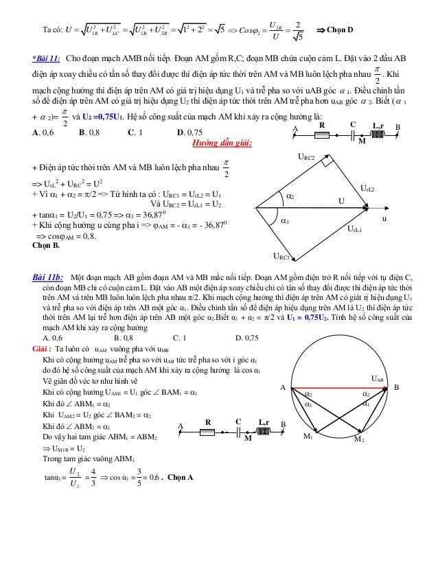 Ta có: 2 2 2 2 2 2 1 1 2 1 2 5R LC R RU U U U U       2 2 2 5 RU Cos U     Chọn D *Bài 11: Cho đoạn mạch AMB ...