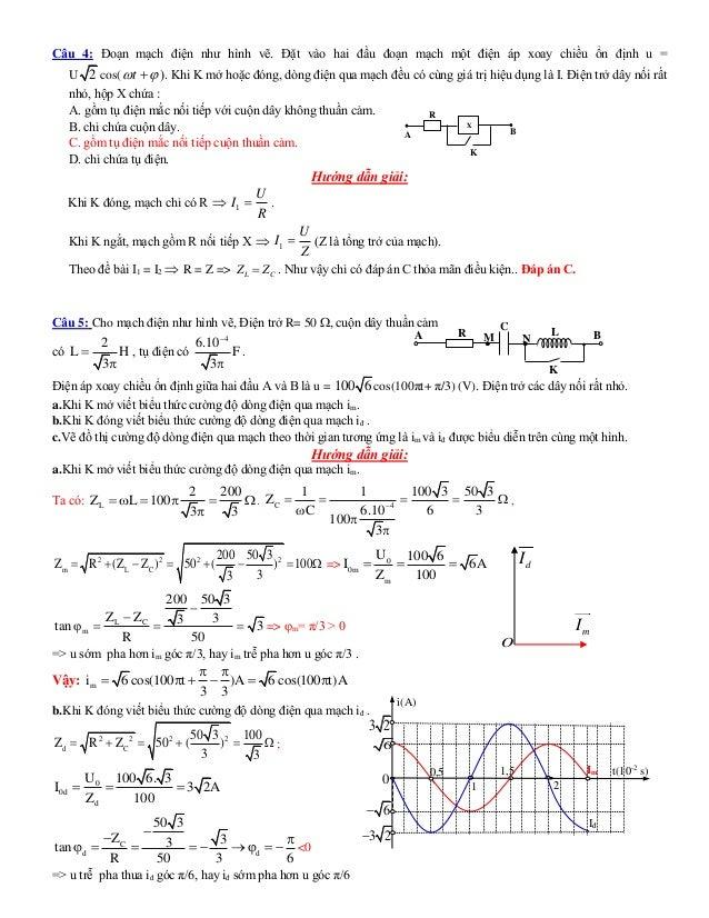 R A B X K Câu 4: Đoạn mạch điện như hình vẽ. Đặt vào hai đầu đoạn mạch một điện áp xoay chiều ổn định u = U 2 cos( t  )...
