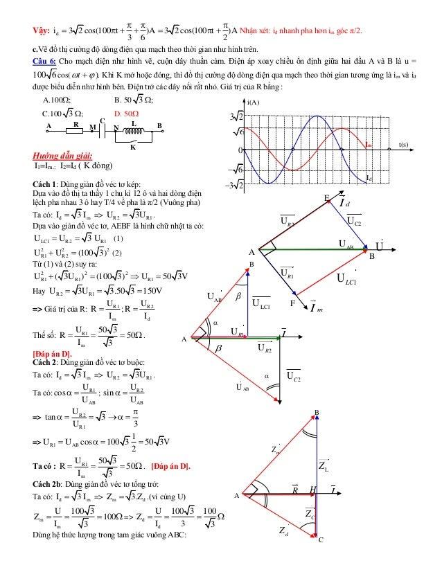 Vậy: di 3 2 cos(100 t )A 3 2 cos(100 t )A 3 6 2           Nhận xét: iđ nhanh pha hơn im góc π/2. c.Vẽ đồ thị cườ...