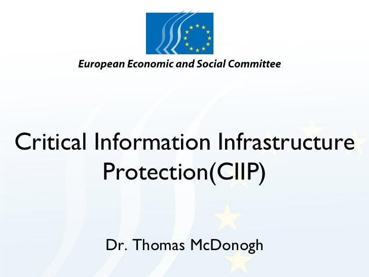 Critical Information Infrastructure Protection(CIIP) Dr. Thomas McDonogh