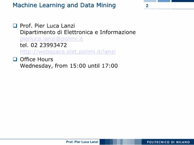 Machine Learning and Data Mining: 00 Course Introduction