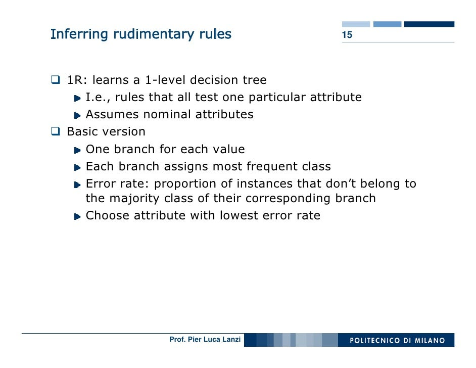 Inferring rudimentary rules                     15      1R: learns a 1-level decision tree      I.e., rules that all test ...