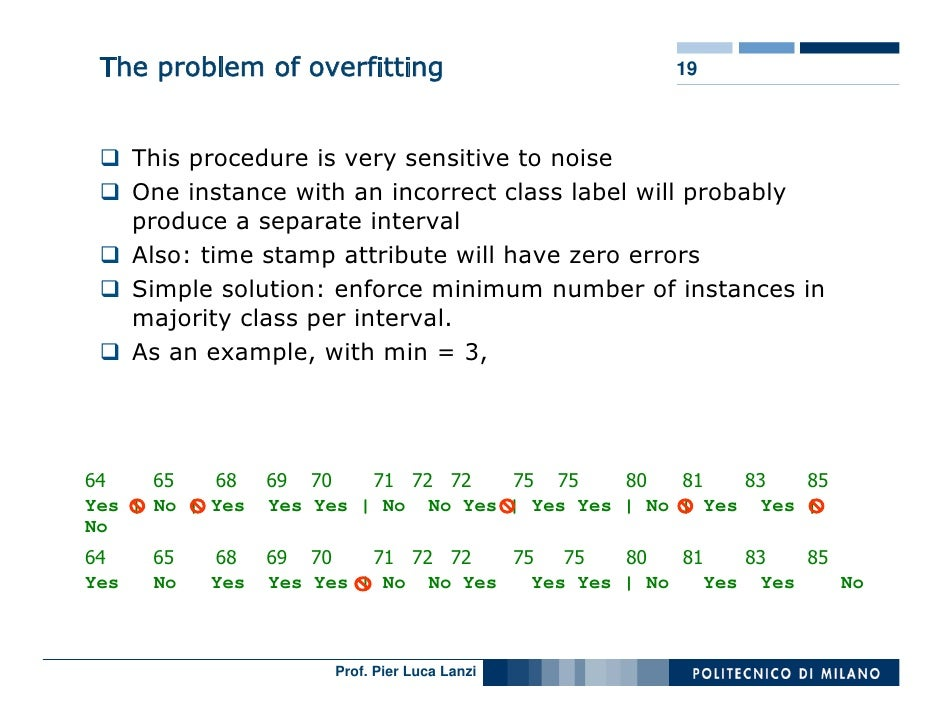 The problem of overfitting                         19          This procedure is very sensitive to noise       One instanc...