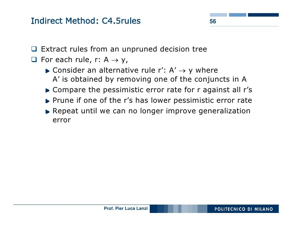 Indirect Method: C4.5rules                       56      Extract rules from an unpruned decision tree   For each rule, r: ...