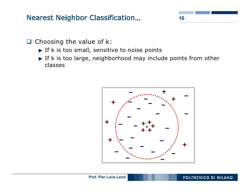 Nearest Neighbor Classification…                   16      Choosing the value of k:      If k is too small, sensitive to n...