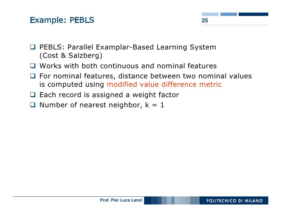 Example: PEBLS                               25      PEBLS: Parallel Examplar-Based Learning System   (Cost & Salzberg)   ...