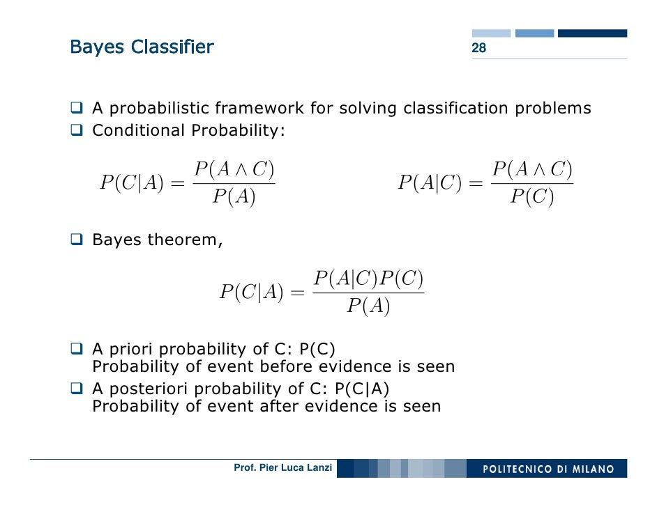 Bayes Classifier                                 28      A probabilistic framework for solving classification problems   C...