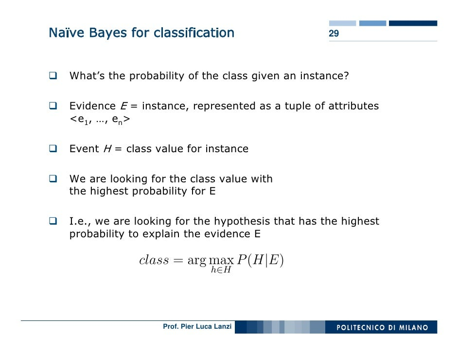 Naïve Bayes for classification                       29       What's the probability of the class given an instance?     E...