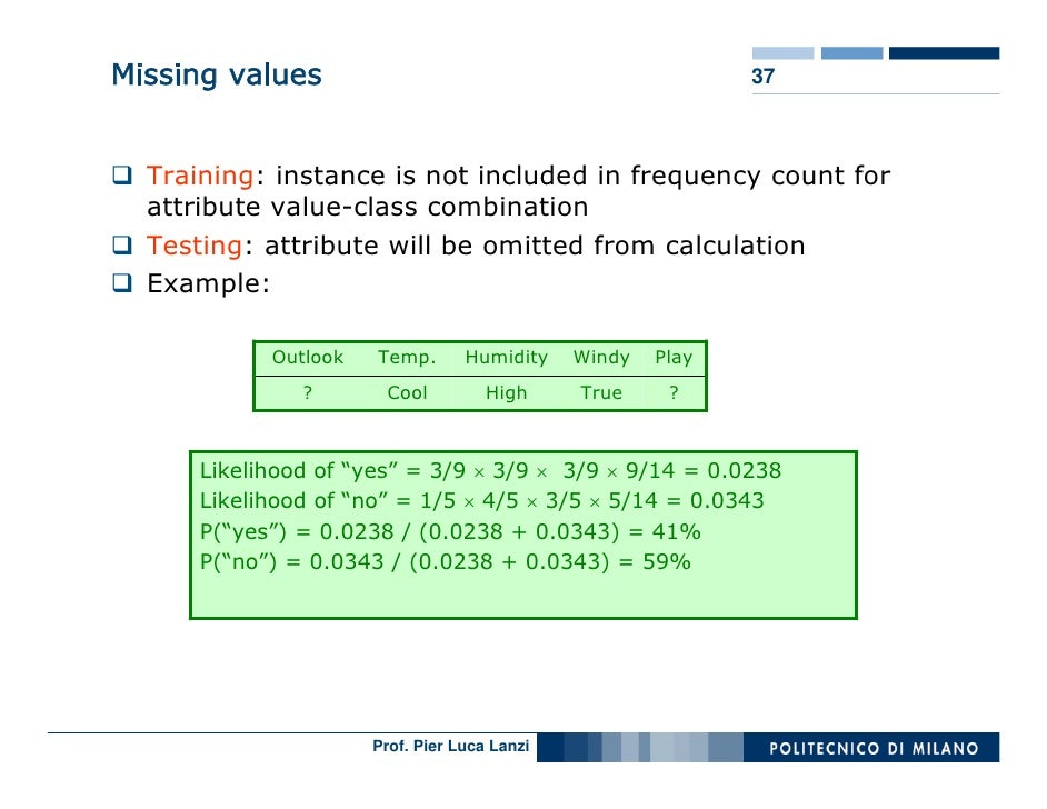 Missing values                                               37      Training: instance is not included in frequency count...