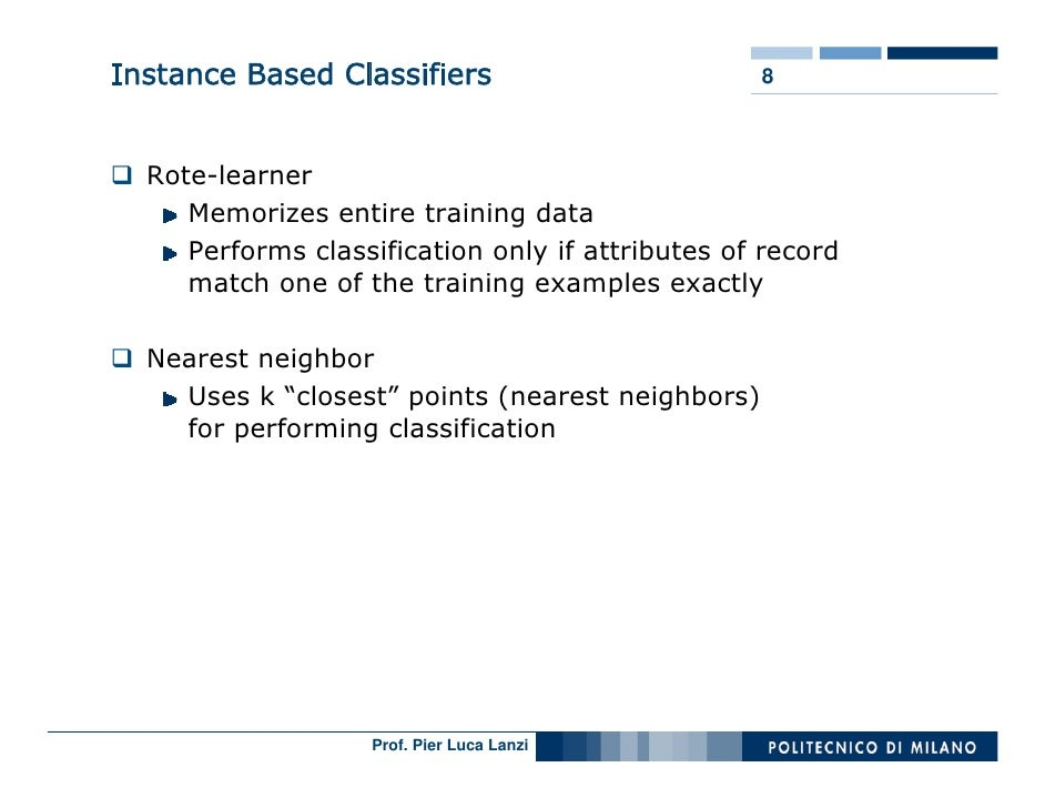 Instance Based Classifiers                        8      Rote-learner      Memorizes entire training data      Performs cl...
