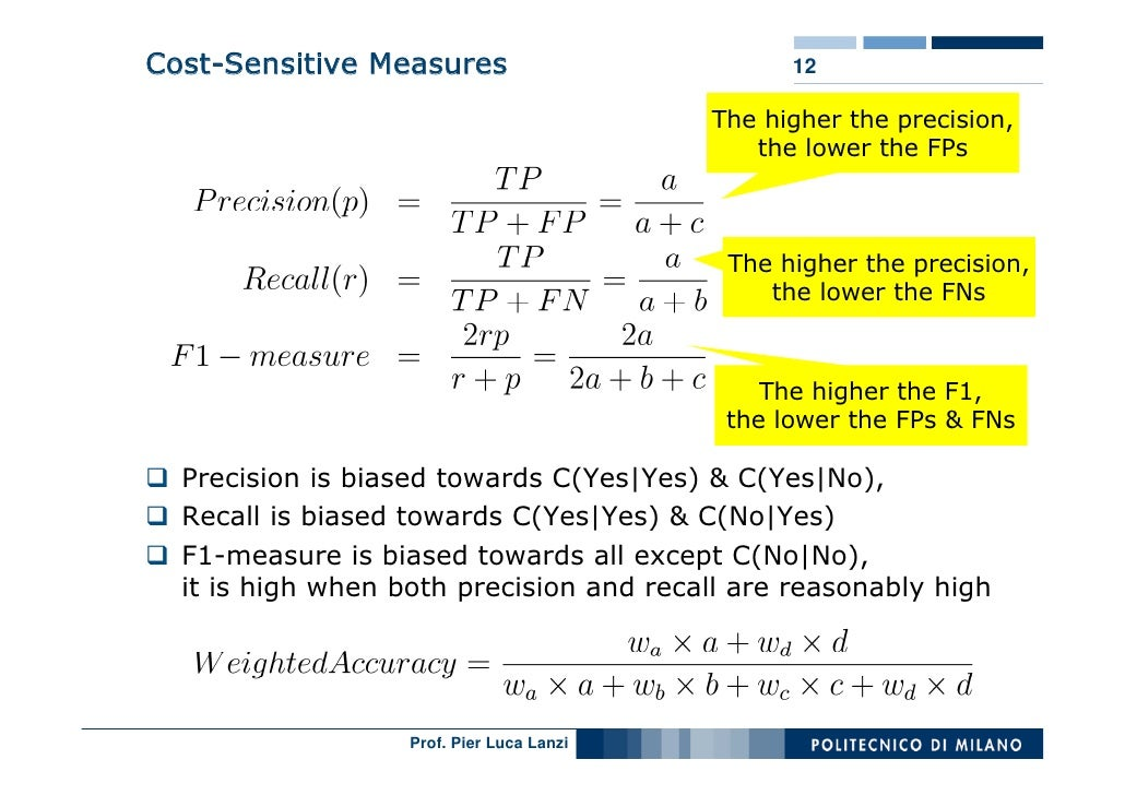 Cost-Sensitive Measures                          12                                             The higher the precision, ...