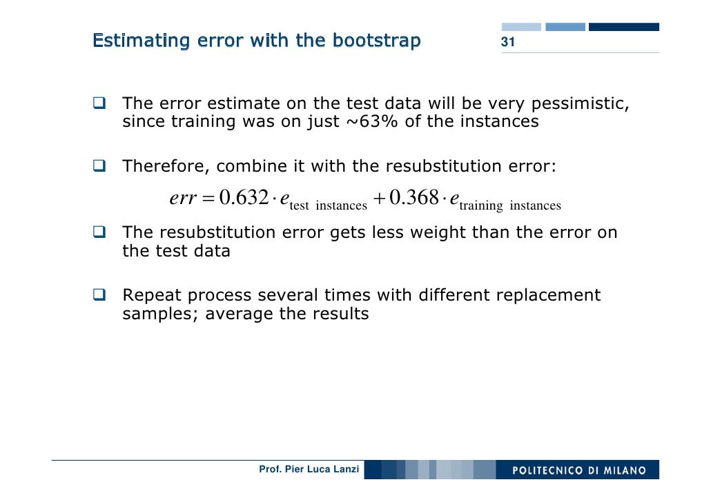 Estimating error with the bootstrap                      31       The error estimate on the test data will be very pessimi...