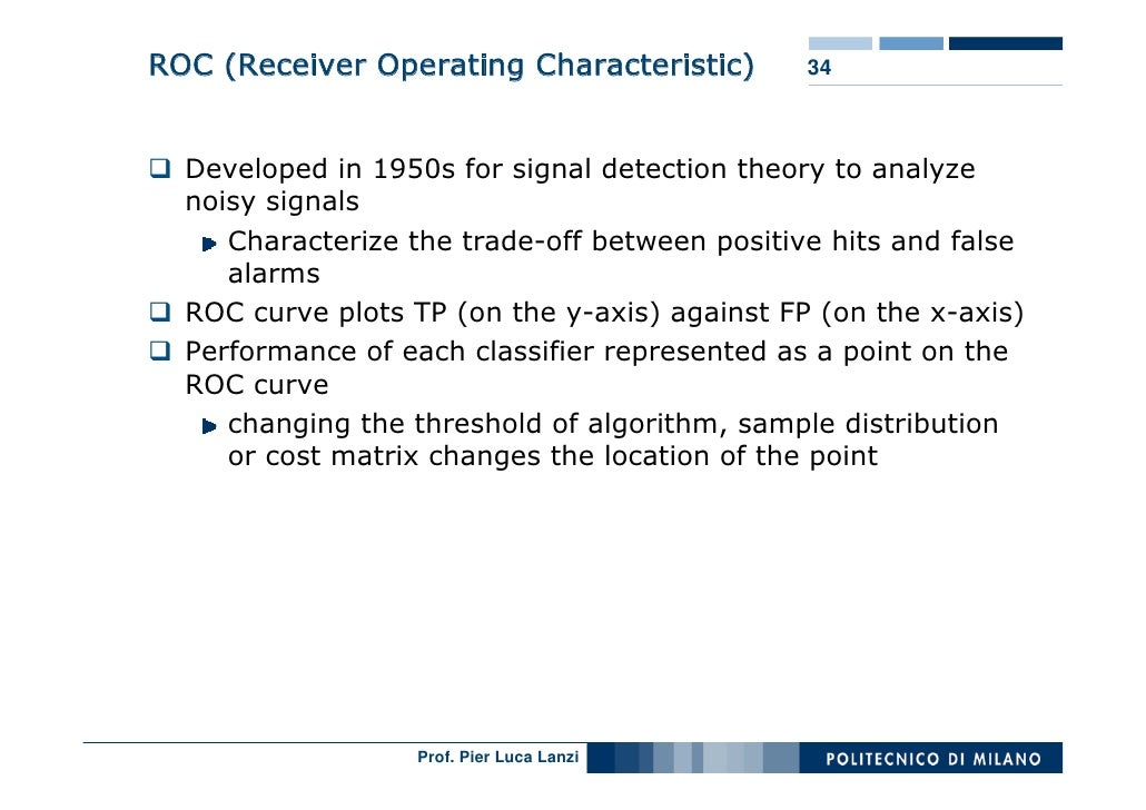 ROC (Receiver Operating Characteristic)        34      Developed in 1950s for signal detection theory to analyze   noisy s...