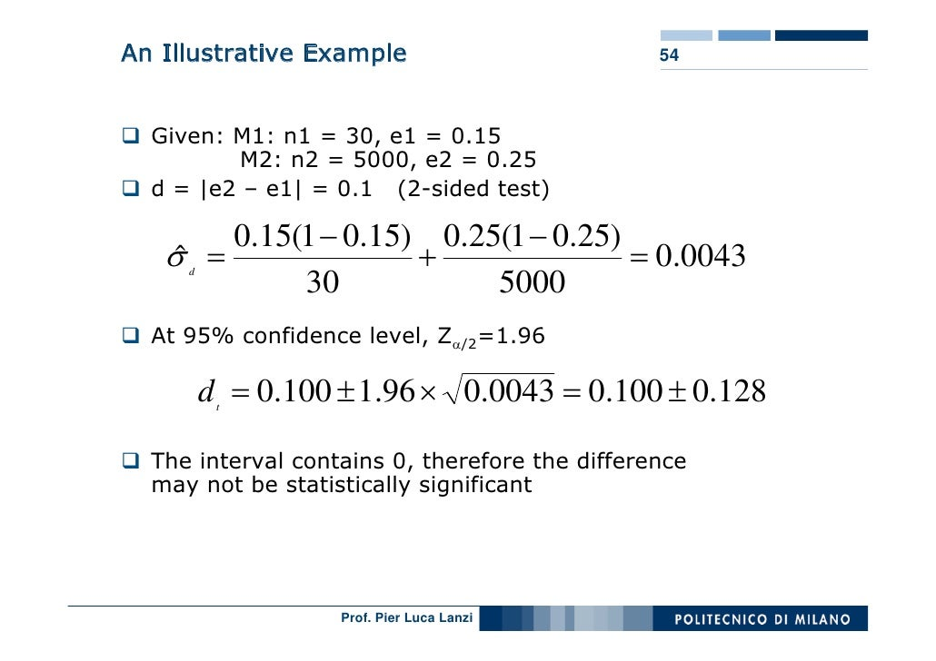 An Illustrative Example                         54      Given: M1: n1 = 30, e1 = 0.15          M2: n2 = 5000, e2 = 0.25   ...