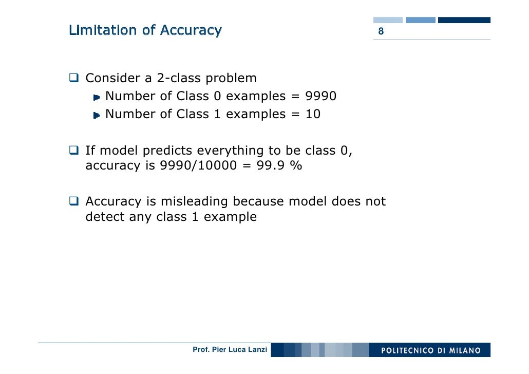 Limitation of Accuracy                          8      Consider a 2-class problem     Number of Class 0 examples = 9990   ...