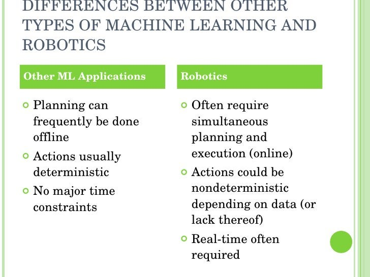 DIFFERENCES BETWEEN OTHER TYPES OF MACHINE LEARNING AND ROBOTICS <ul><li>Planning can frequently be done offline </li></ul...