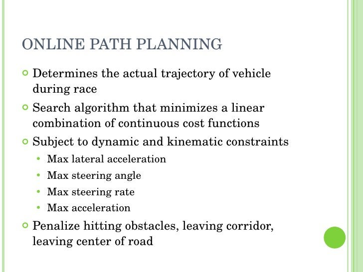 ONLINE PATH PLANNING <ul><li>Determines the actual trajectory of vehicle during race </li></ul><ul><li>Search algorithm th...