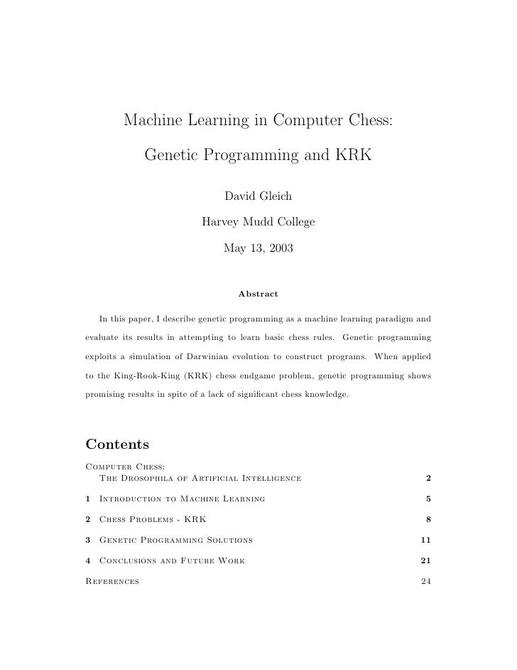 Machine Learning in Computer Chess:                Genetic Programming and KRK                                     David G...