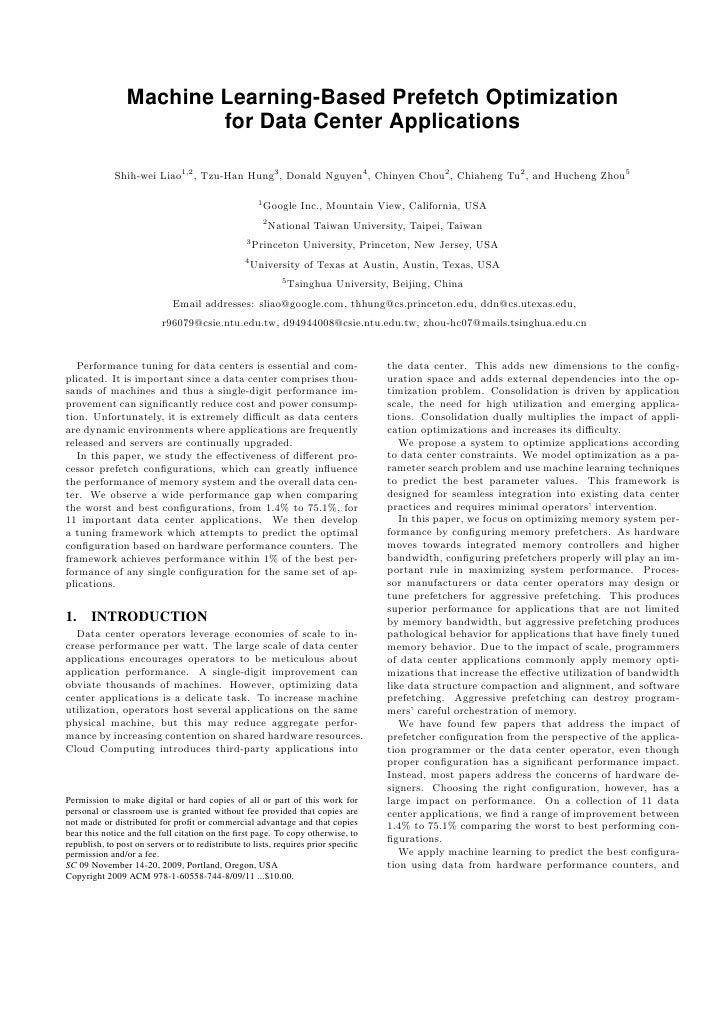 Machine Learning-Based Prefetch Optimization                         for Data Center Applications               Shih-wei L...