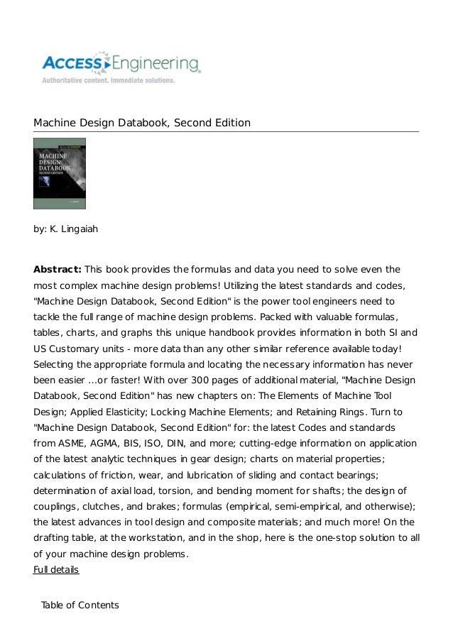 Machine Design Data Book By Bhandari