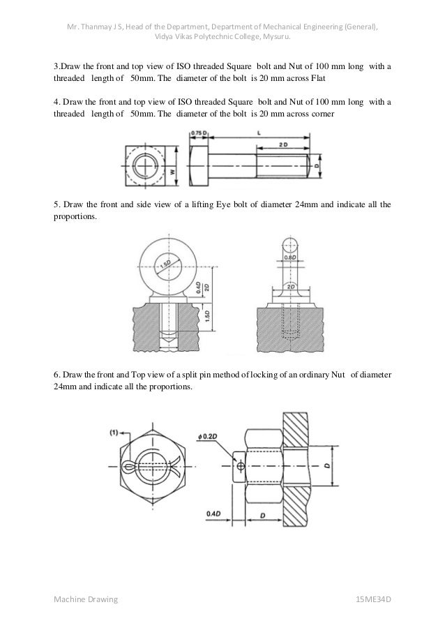 Machine Drawing Notes 15 Me34d