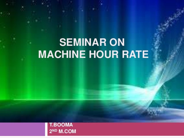 cnc machine hour rate calculation pdf